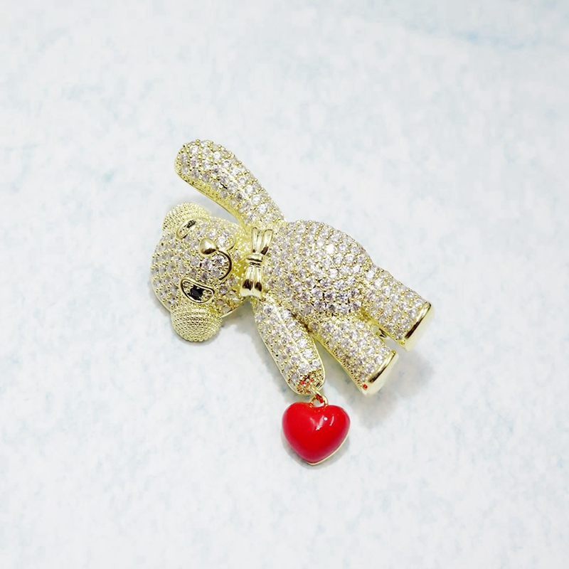 Mode-Coreenne-Mignon-Ours-en-Forme-de-Coeur-Zircon-Broche-Goupille-Animal-S-S3V8 miniature 12