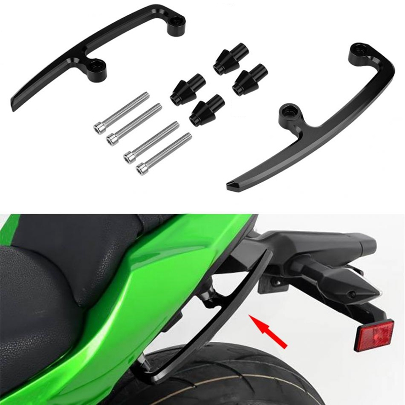 HOMETY Motocicleta CNC Aluminio Sill/ón Barras Asiento Trasero Pasajero Carril Pasamanos Manija Apoyabrazos para Z650 2017 2018 Negro