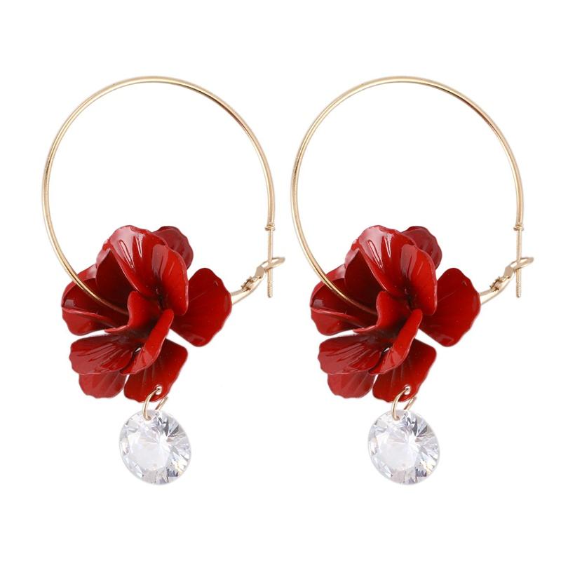 Fashion flowers drop dangle earring for women wedding jewelry Red B3H8