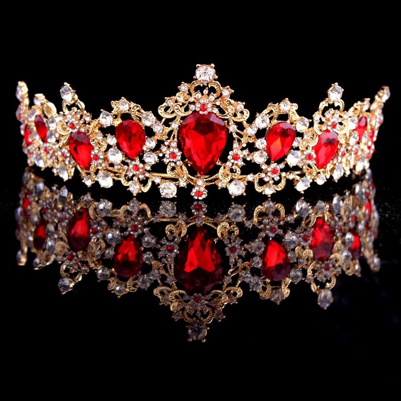 Baroque-Crown-Crystal-Bridal-Tiaras-Crown-Vintage-Gold-Hair-Accessories-Wed-A9T3 thumbnail 3