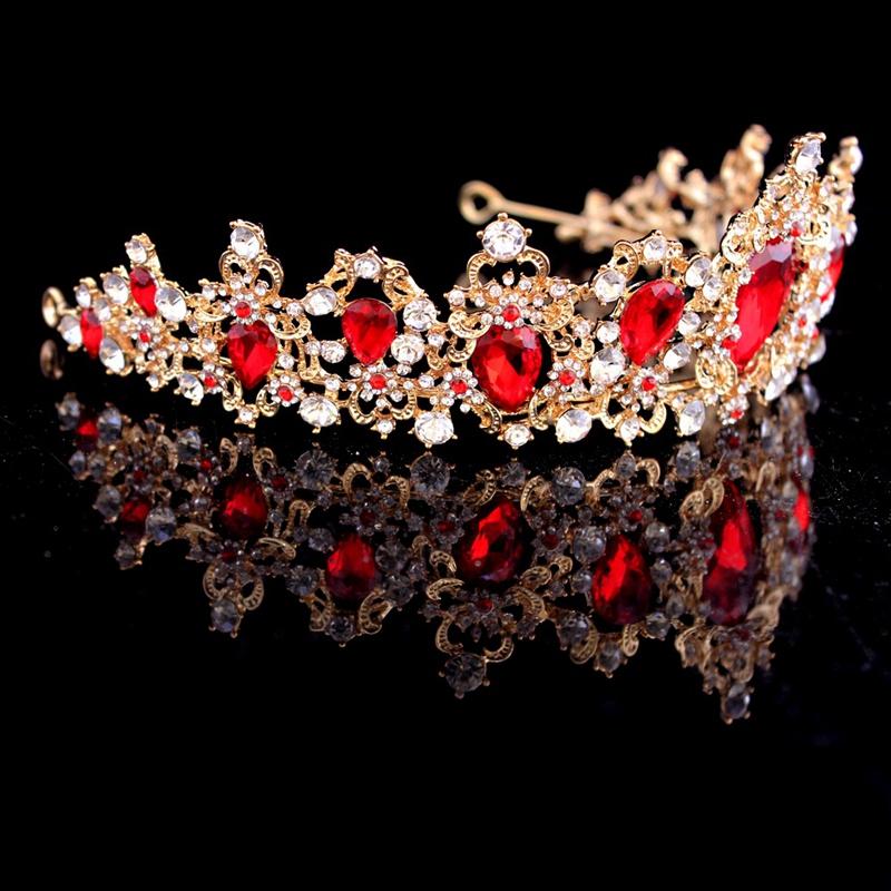 Baroque-Crown-Crystal-Bridal-Tiaras-Crown-Vintage-Gold-Hair-Accessories-Wed-A9T3 thumbnail 4
