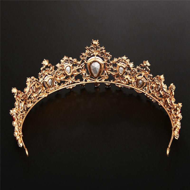 Baroque-Crown-Crystal-Bridal-Tiaras-Crown-Vintage-Gold-Hair-Accessories-Wed-A9T3 thumbnail 5