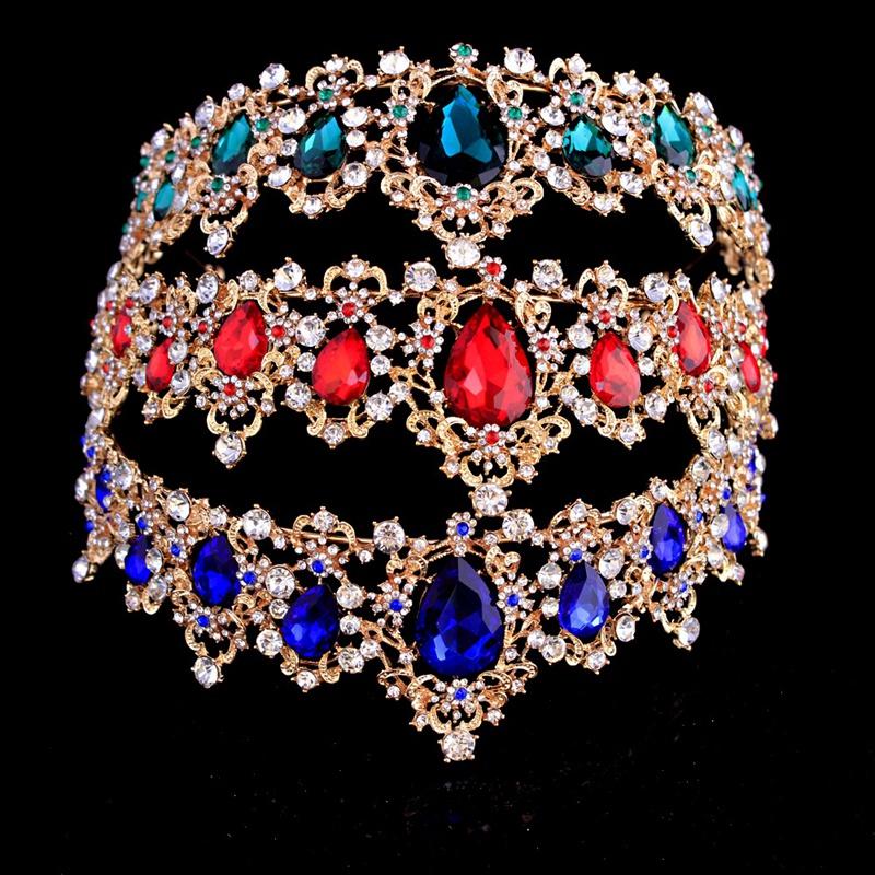Baroque-Crown-Crystal-Bridal-Tiaras-Crown-Vintage-Gold-Hair-Accessories-Wed-A9T3 thumbnail 7