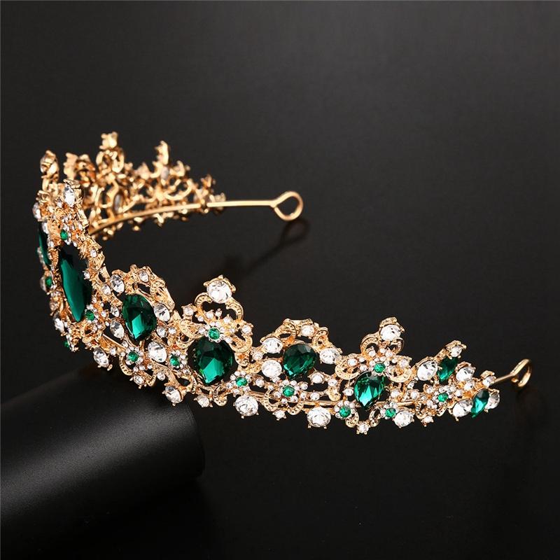 Baroque-Crown-Crystal-Bridal-Tiaras-Crown-Vintage-Gold-Hair-Accessories-Wed-A9T3 thumbnail 10
