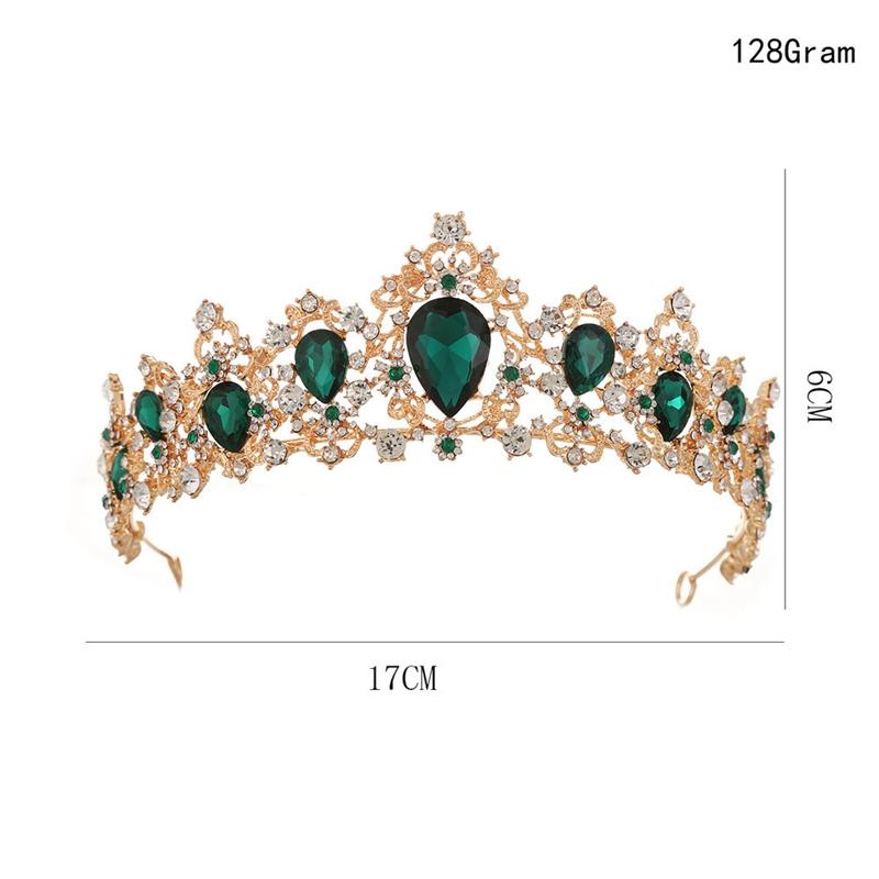 Baroque-Crown-Crystal-Bridal-Tiaras-Crown-Vintage-Gold-Hair-Accessories-Wed-A9T3 thumbnail 13