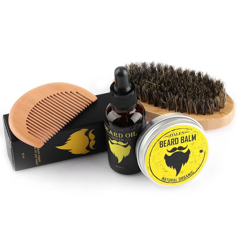 Oalen-Beard-Care-Kit-Balm-Oil-Beard-Balm-Beard-Comb-Beard-Brush-Beard-Bag-W4M3 thumbnail 6