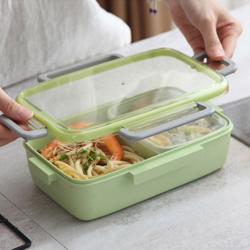 2X-Portable-Lunch-Box-Independent-Grid-Rectangular-Lunch-Box-Leakproof-Food7J8 thumbnail 5