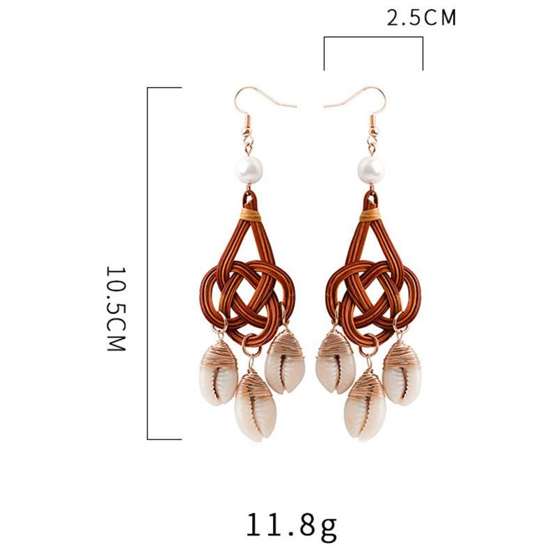 Natürliche Schale Rattan Ohrringe Für Frauen Böhmen Muschel Schale G1P4