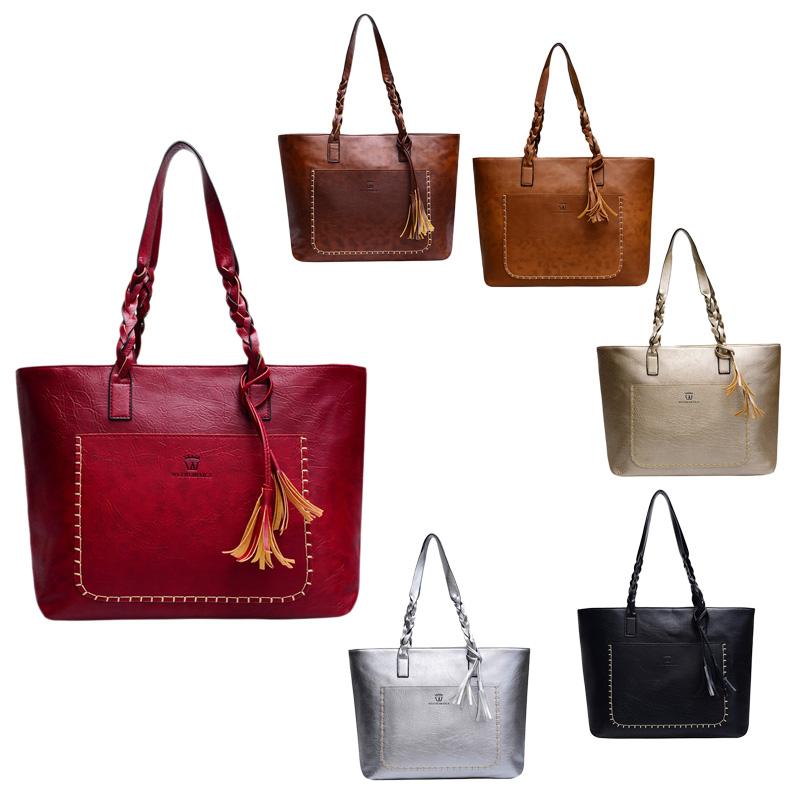 3X-Neue-Frauen-Grosse-Kapazitaets-Speicher-Leder-Hand-Taschen-Schulter-Damen-O5F5 Indexbild 11