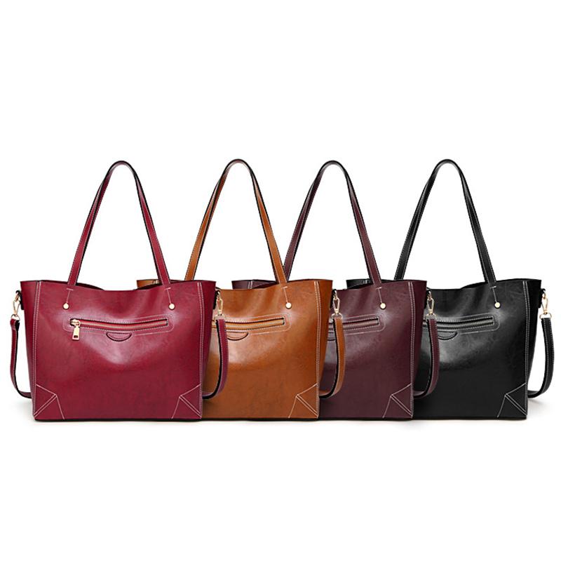 4PCS Women Lady Leather Handbag Shoulder Bags Tote Satchel Purse Messenger N3J2