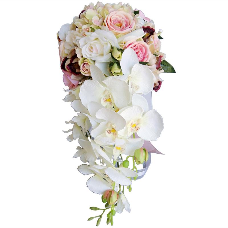 Fiori Da Sposa.Cascata Tipo Goccia D Acqua Bouquet Rosa Bianco Fiori Da Sposa