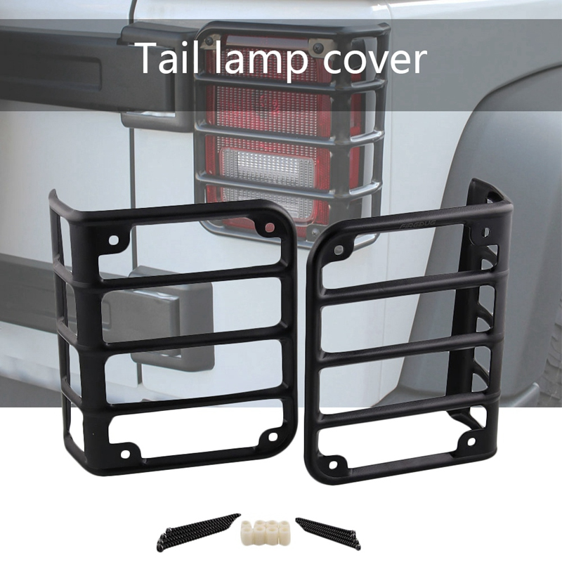 For 07-17 Jeep Wrangler JK Matte Black Rear Tail Light Guards Protector Covers