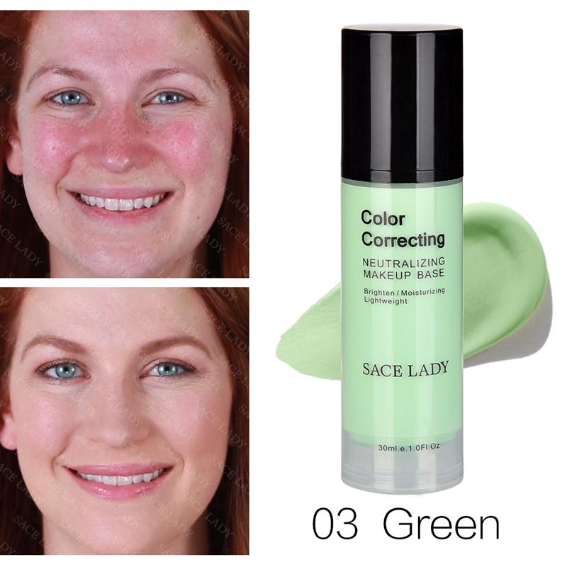 SACE-Dama-base-de-maquillaje-corrector-de-color-de-la-cara-imprimaciones-30Ml-Facial-Corrector-C miniatura 4