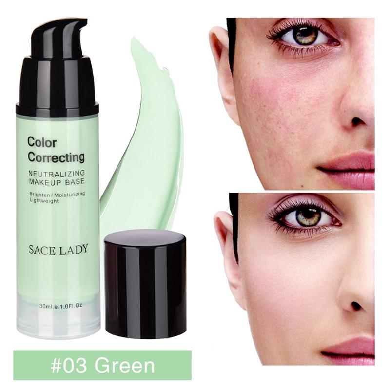 SACE-Dama-base-de-maquillaje-corrector-de-color-de-la-cara-imprimaciones-30Ml-Facial-Corrector-C miniatura 5