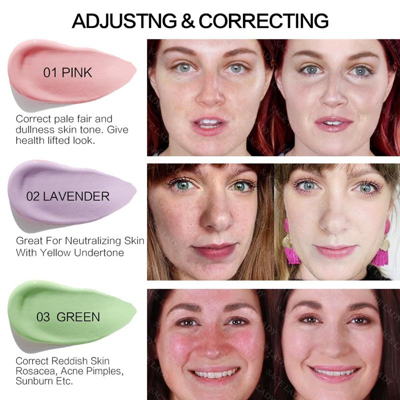 SACE-Dama-base-de-maquillaje-corrector-de-color-de-la-cara-imprimaciones-30Ml-Facial-Corrector-C miniatura 10