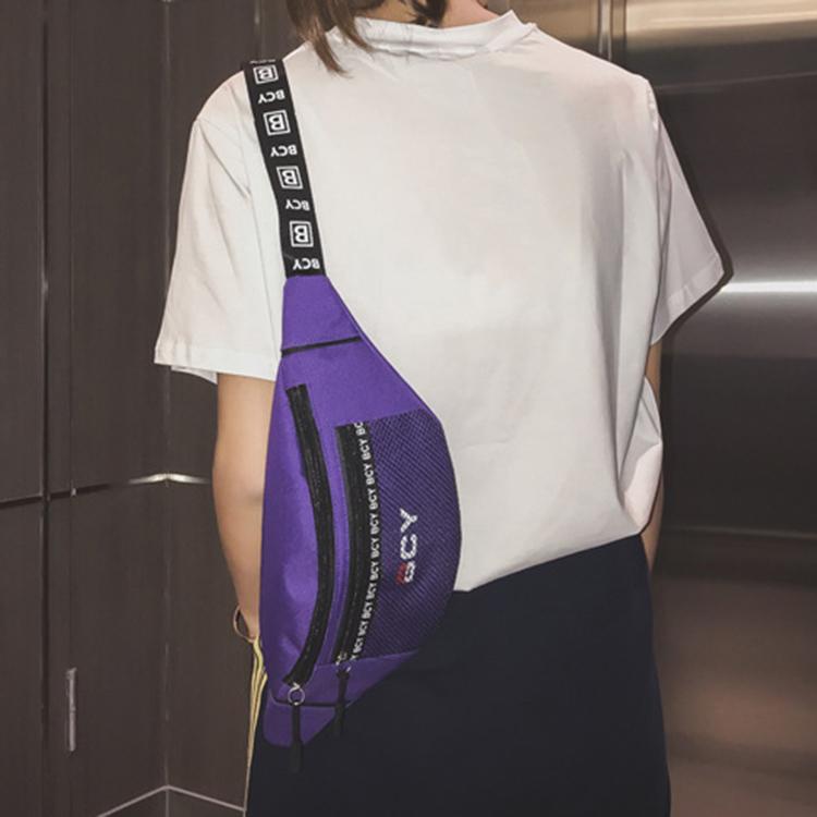Mode-Neutral-Aussen-Zipper-Segeltuch-Umhaenge-Tasche-Sport-Brust-Tasche-Guerte-Q1I9 Indexbild 5