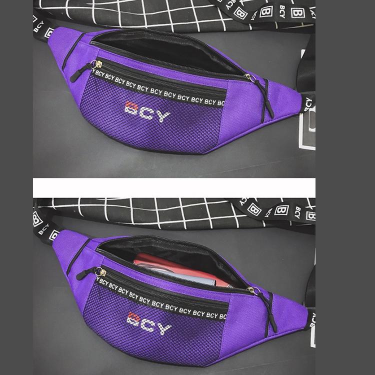 Mode-Neutral-Aussen-Zipper-Segeltuch-Umhaenge-Tasche-Sport-Brust-Tasche-Guerte-Q1I9 Indexbild 7