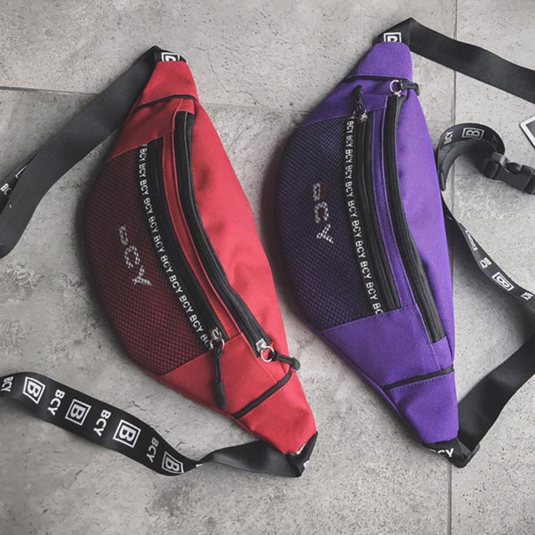 Mode-Neutral-Aussen-Zipper-Segeltuch-Umhaenge-Tasche-Sport-Brust-Tasche-Guerte-Q1I9 Indexbild 9