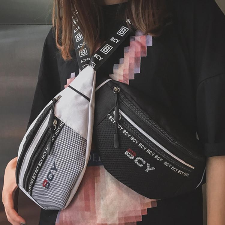 Mode-Neutral-Aussen-Zipper-Segeltuch-Umhaenge-Tasche-Sport-Brust-Tasche-Guerte-Q1I9 Indexbild 13
