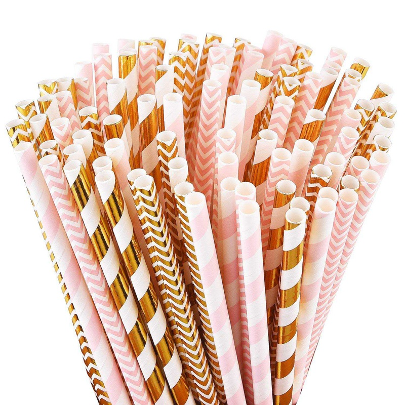 Biodegradable-Paper-Straws-100-Pink-For-Party-Supplies-Birthday-Wedding-T5X4 thumbnail 2