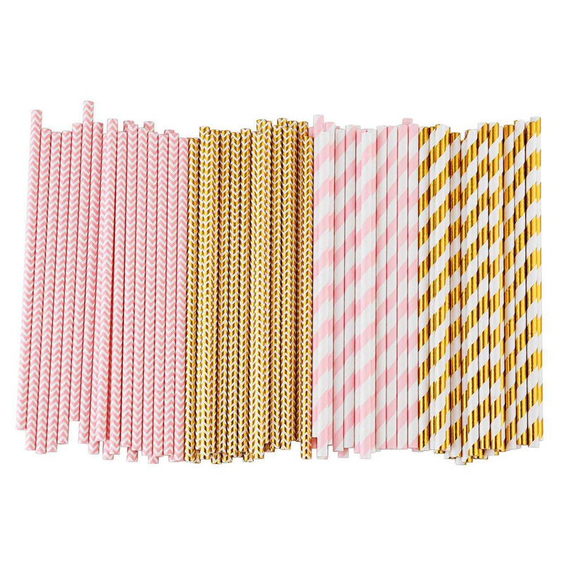 Biodegradable-Paper-Straws-100-Pink-For-Party-Supplies-Birthday-Wedding-T5X4