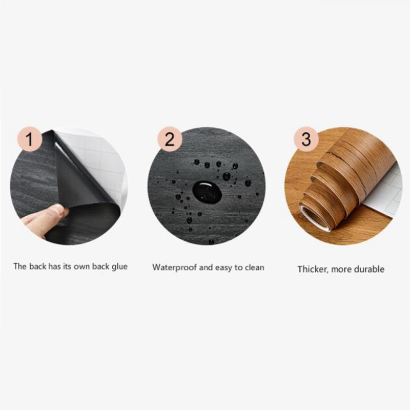 Wood-Grain-Home-Decor-Furniture-Wrap-Waterproof-Wall-Sticker-Self-Adhesive-W2M5 thumbnail 8