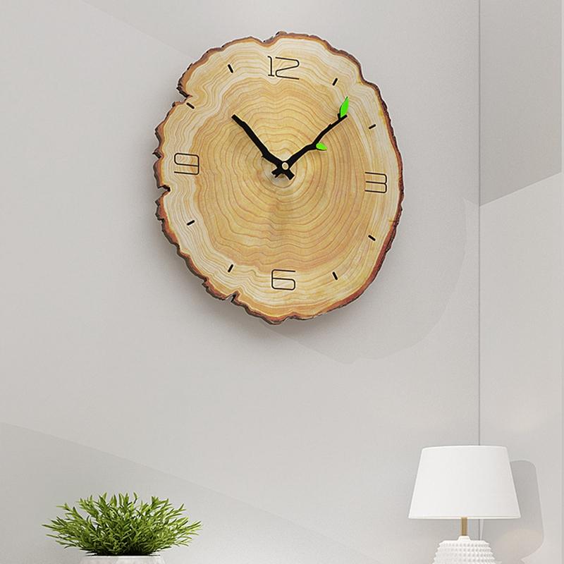 Horloge-Murale-Grain-de-Bois-Horloge-Muette-Du-Salon-Tableaux-Muraux-en-Bois-j1y miniature 2