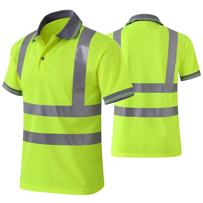 Moisture-Wicking-Camisa-Reflectante-Manga-Corta-Chaleco-Amarillo-Safet-y-Cl-A7T3 miniatura 3