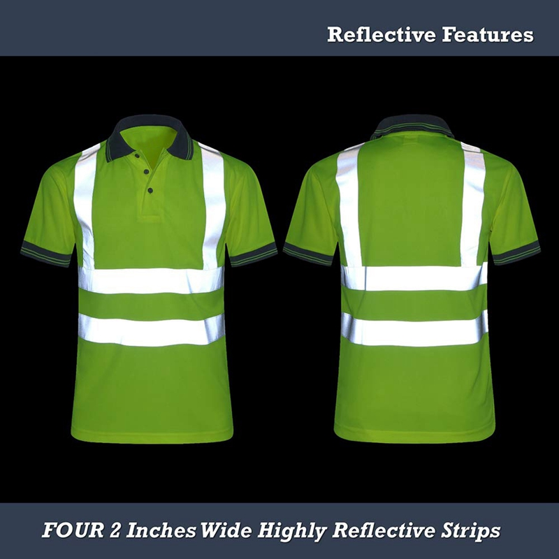 Moisture-Wicking-Camisa-Reflectante-Manga-Corta-Chaleco-Amarillo-Safet-y-Cl-A7T3 miniatura 6