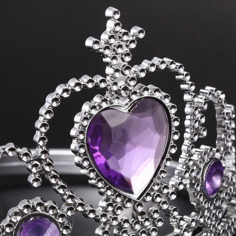 D7G7 Plastic Woman Wedding Faux RhInestone Tiara Headband Silver Tone Purple L2V