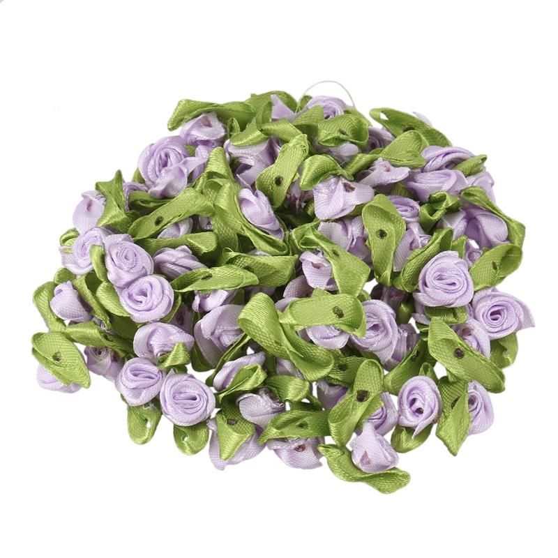 100 Pcs Mini Satin Ruban Rose Fleur Feuille De Mariage DÉcor Appliques Cout F7y8