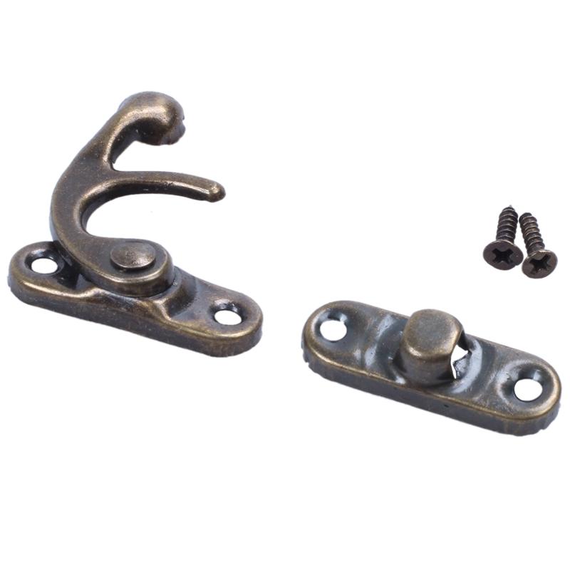 swing-hook-clasp-metal-antique-brass-jewellery-box-latch-catch-trinket-with-K6F3 thumbnail 2