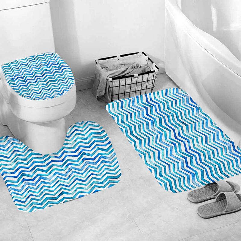 Terrific Details About 4Pcs Home Bathroom Decor Set Bathroom Blue Stripes Pattern Toilet Seat Cove O9U3 Gamerscity Chair Design For Home Gamerscityorg