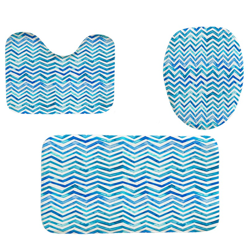 Prime Details About 4Pcs Home Bathroom Decor Set Bathroom Blue Stripes Pattern Toilet Seat Cove O9U3 Gamerscity Chair Design For Home Gamerscityorg