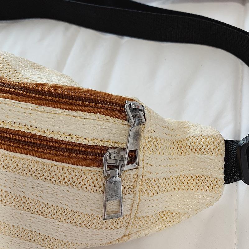 Rattan-Tasche-Stroh-Guertel-Tasche-Frauen-Weiblichen-Guertel-Tasche-Hueft-T-M1S8 Indexbild 4