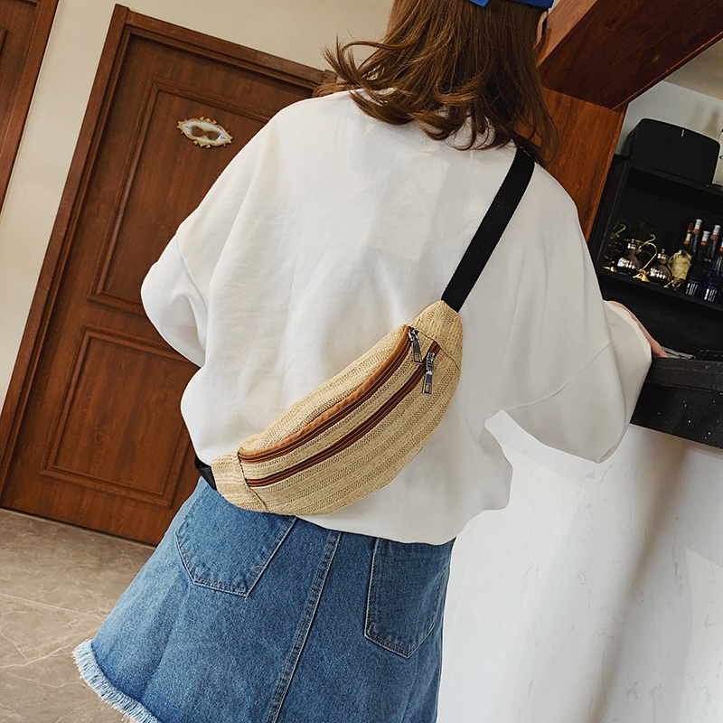 Rattan-Tasche-Stroh-Guertel-Tasche-Frauen-Weiblichen-Guertel-Tasche-Hueft-T-M1S8 Indexbild 18