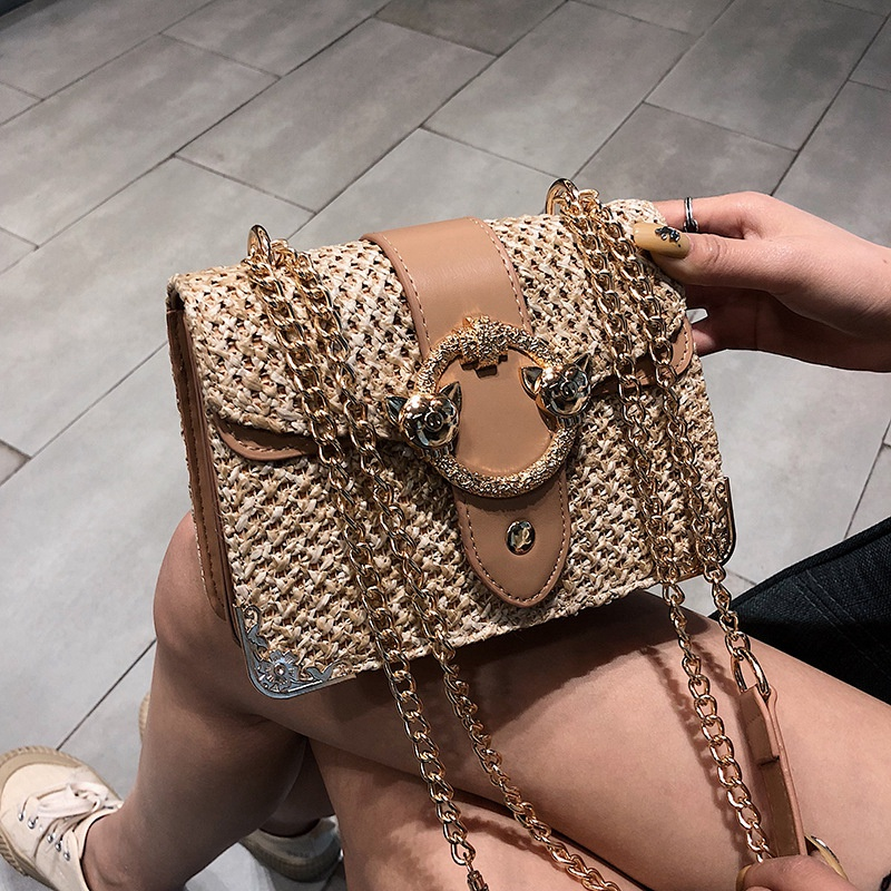 thumbnail 3 - Bags-For-Women-Chains-Straw-Bags-Beach-Handbags-Summer-Vintage-Rattan-Bag-HI9L2