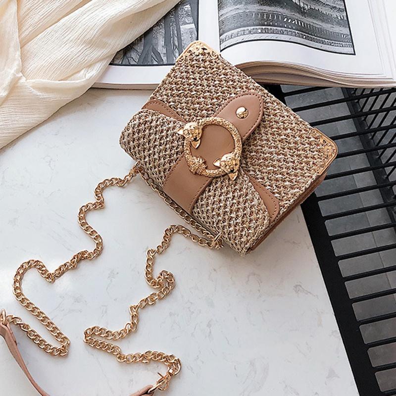 thumbnail 10 - Bags-For-Women-Chains-Straw-Bags-Beach-Handbags-Summer-Vintage-Rattan-Bag-HI9L2
