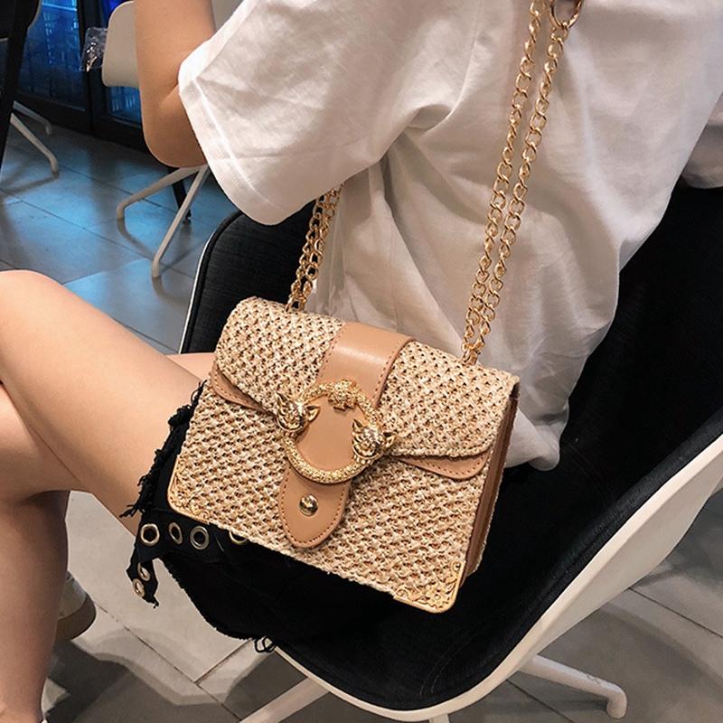 thumbnail 11 - Bags-For-Women-Chains-Straw-Bags-Beach-Handbags-Summer-Vintage-Rattan-Bag-HI9L2