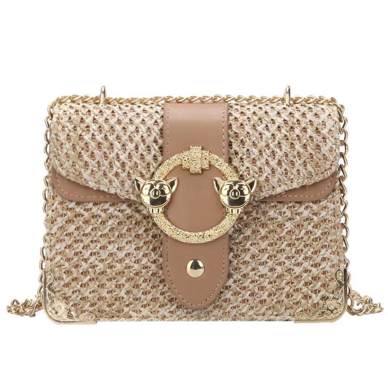 thumbnail 2 - Bags-For-Women-Chains-Straw-Bags-Beach-Handbags-Summer-Vintage-Rattan-Bag-HI9L2