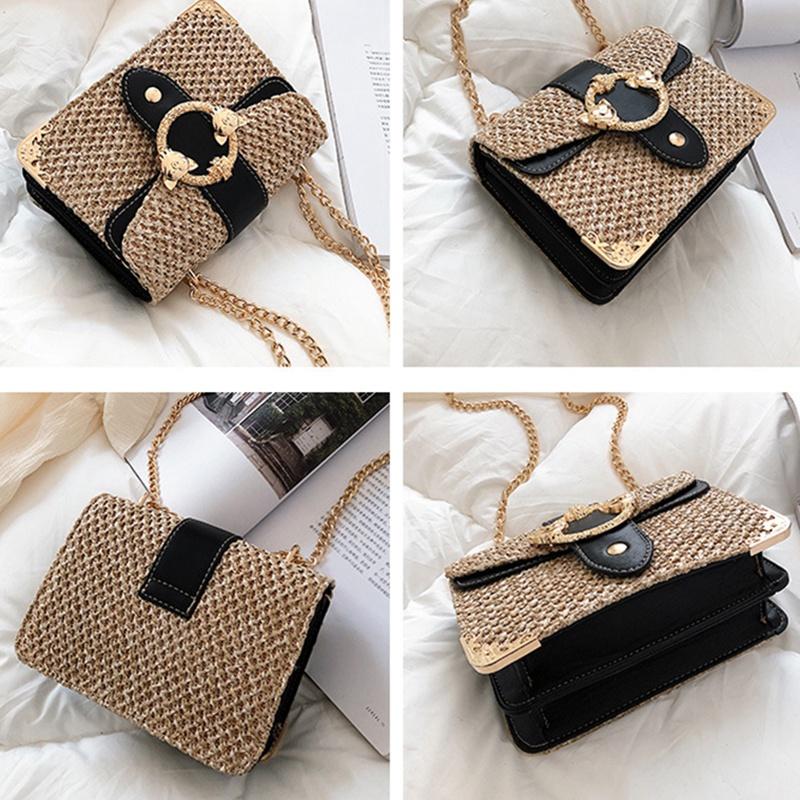 thumbnail 15 - Bags-For-Women-Chains-Straw-Bags-Beach-Handbags-Summer-Vintage-Rattan-Bag-HI9L2