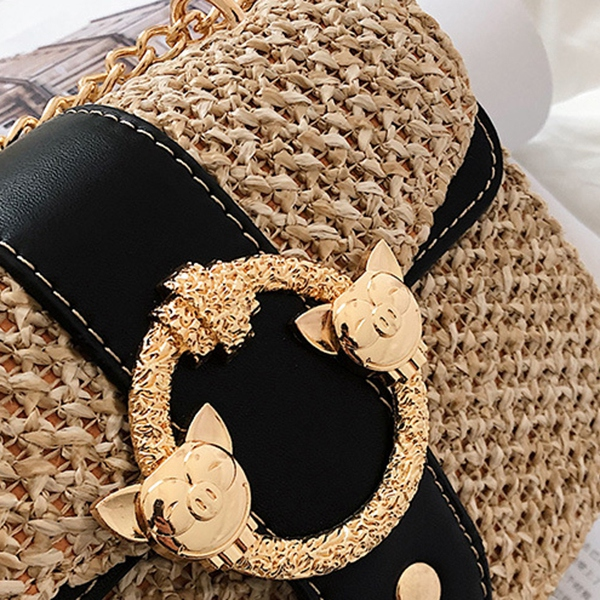 thumbnail 16 - Bags-For-Women-Chains-Straw-Bags-Beach-Handbags-Summer-Vintage-Rattan-Bag-HI9L2