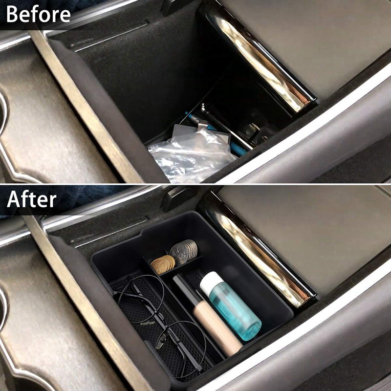 SODIAL Sunglass Holder for 2017 2018 2019 Tesla Model 3 Center Console Organizer Insert Abs Black Materials Tray