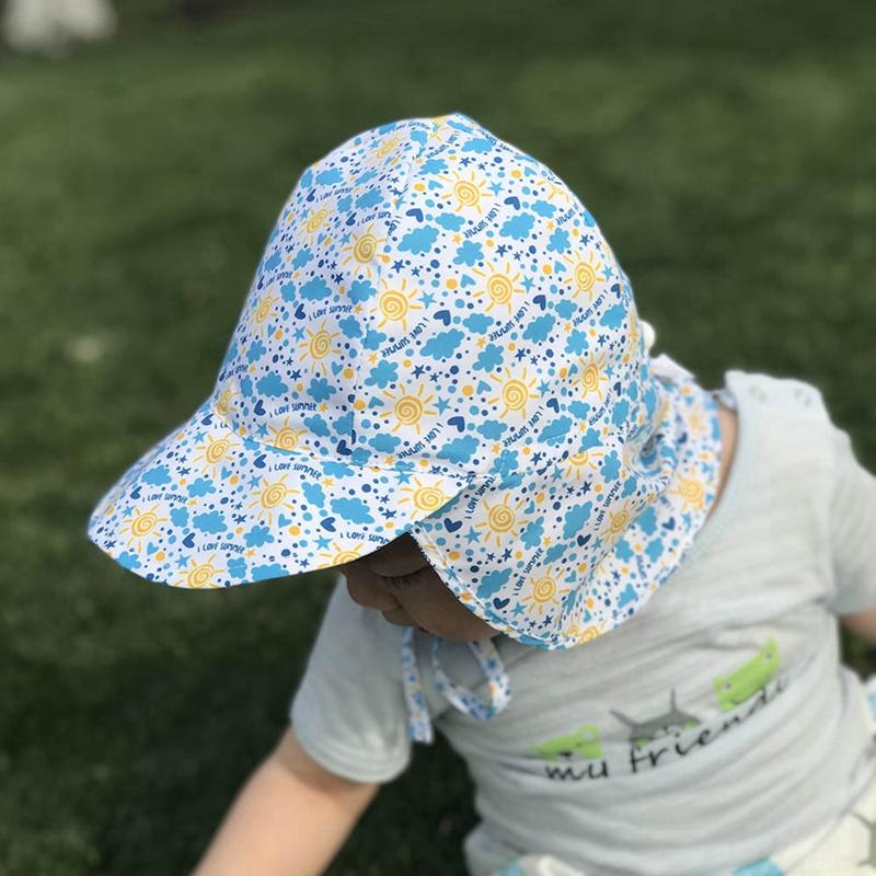 Summer-BEBE-Chapeau-De-Soleil-Enfants-En-Plein-Air-Cou-Oreille-Couverture-A-A4B8 miniature 5