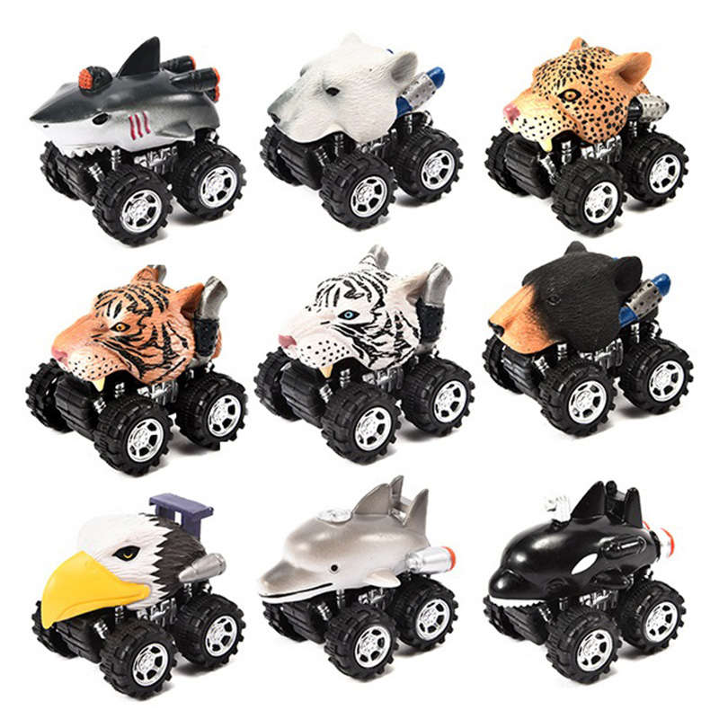 Mini Vehicle Animal Pull Back Cars with Big Tire Wheel Creative Toy Gift For Kid