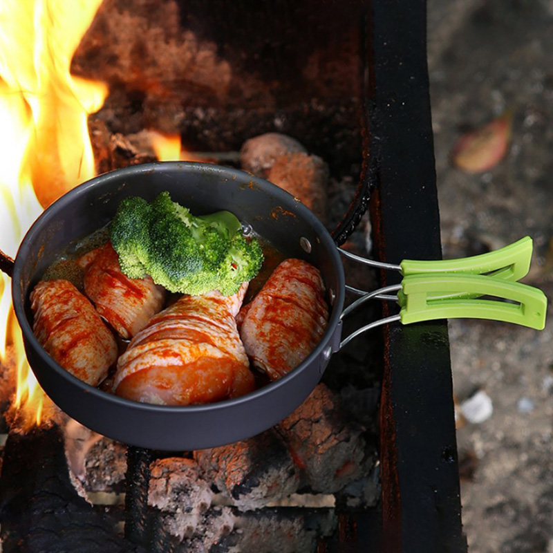 8857bf20ee03 Outdoor 10Pcs Camping Cookware Cooking Equipment Mess Kit Bowls ...