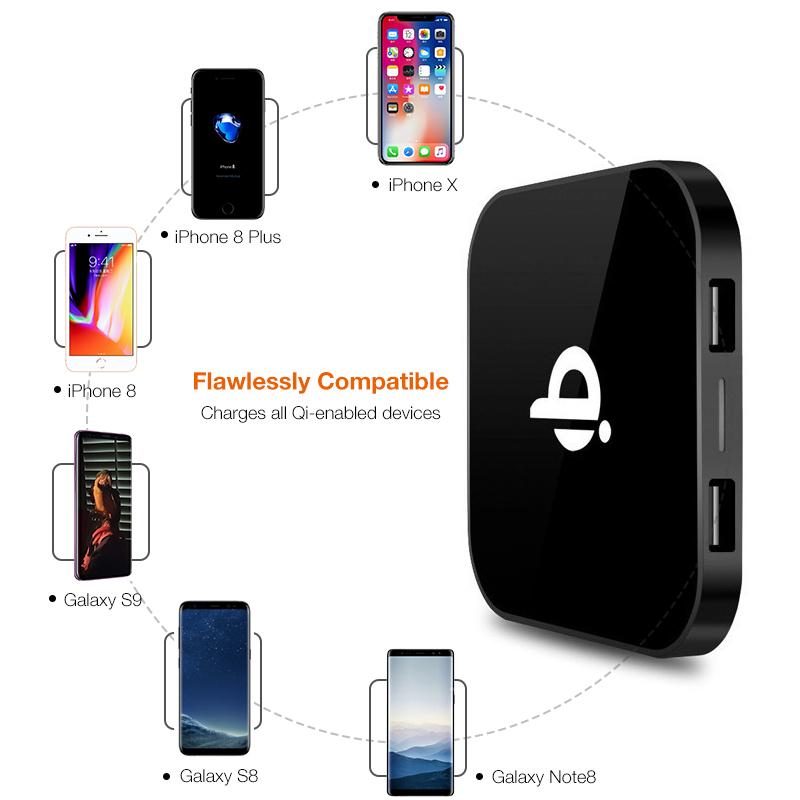 Detalles de 1X(Portable Qi Cargador Inalámbrico para Iphone X Xs Max Xr 7 8 Plus Pad A9Y3