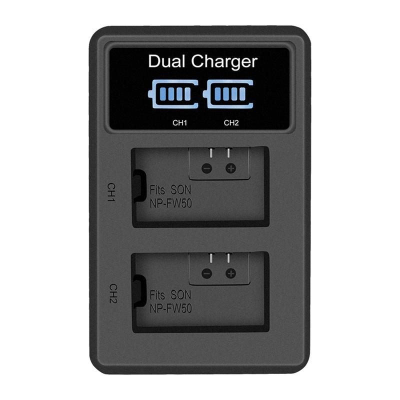 Lcd-Doppel-Usb-Batterie-Ladegeraet-Fuer-Sony-Fw50-Np-Fw50-Np-Fw50-Npfw50-Batt-U1T8