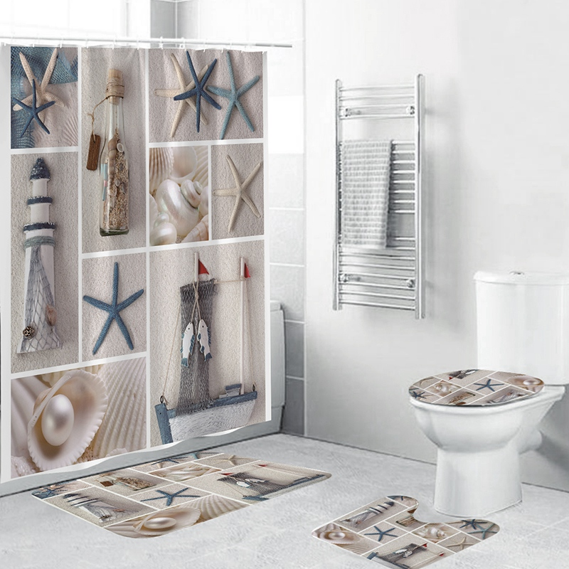 Starfish and fishing nets Waterproof Fabric Shower Curtain Bathroom home decor