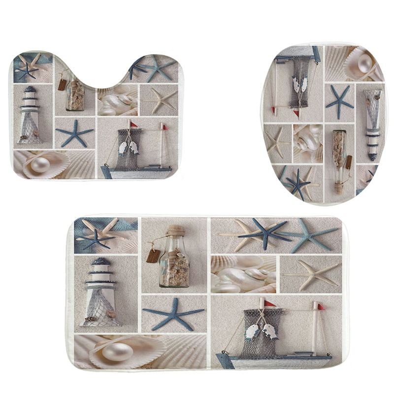 Brilliant Details About 4Pcs Home Bathroom Decor Set Starfish And Fishing Nets Pattern Toilet Seat R1I9 Theyellowbook Wood Chair Design Ideas Theyellowbookinfo